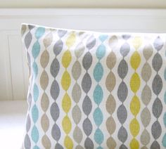 This listing is for one 14 x 14 inch ( 35 x 35 cm ) decorative pillow cover made using the beaded fabric in photograph 1 - it has a grey, yellow lime, blue beige abstract stripe design on a light beige background. Fabric is the SAME on the reverse and has an envelope opening / FULLY