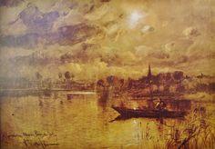 Eliseo Meifrén Roig. Atardecer en el río. Francia. Dibujo al carbón sobre papel. Firmado. 109 x 149 cm. Ausa, p. 428-9.