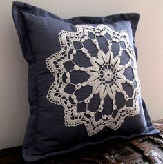 Blue-grey scatter cushion cover with white by ScarletPincushion
