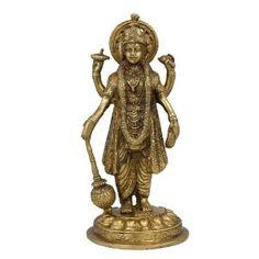 Religious Art Hindu God Vishnu Statue Figurine; Brass; 8.89 x 19.05 x 8.89 cm