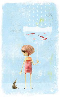Whimsical art Painting Gouache Fish-in-Umbrella Art And Illustration, Gravure Illustration, Illustrations Posters, Umbrella Painting, Umbrella Art, Art Fantaisiste, Foto Poster, Inspiration Art, Art Design