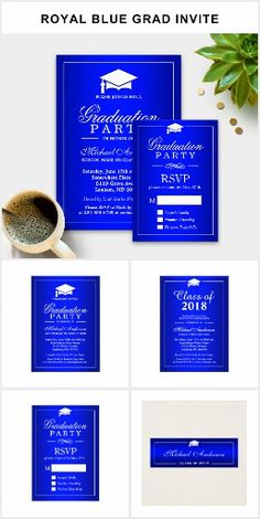 Graduation Invite: Stunning Royal Blue Suites A Stunning Royal Blue Graduation Invitation Suite, with items from invitation to RSVP card, Insert Card, Business Card, Address Label, and more.