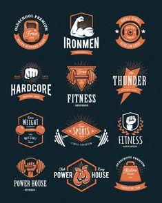 Retro Style Hardcore retro styled two-colour fitness logos. Click through for more gym, yoga, and fitness logo ideas. - Looking for fitness logo ideas Fitness Logo, Retro Fitness, Fitness Design, Fitness Shirts, Logos Gym, Gym Logo, Crossfit Logo, Logo Sport, Sports Logo
