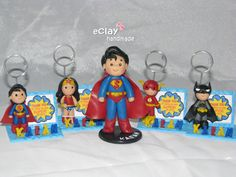 super league, superman, wonderwoman, the flash, batman, souvenirs, cake topper, photo holder, memo holder, polymer clay