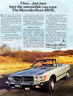 Mercedes 1973 450SL Roadster Vintage Poster Print Art Classic German Car
