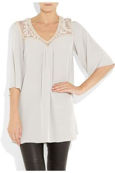 TEMPERLEY LONDON  Embellished silk tunic top