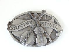 Vintage Large COUNTRY MUSIC Belt Buckle by SellitAgainVintage, $22.00