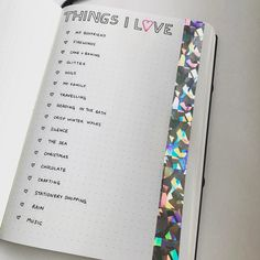 Some of the many Things I Love Ft. my new holographic tape from @paper_smiths - #bulletjournal #bulletjournaling #bulletjournalcommunity #bulletjournaljunkies #ukbulletjournal #bulletjournaluk #bujouk #gratitude #typeography #calligraphy #bujo #bujojunkies #bujo2017 #planwithme #leuchtturm1917 #papermate #pigment #planner #planning #hologram #holographic #tape #love #thingsilove #list #lists