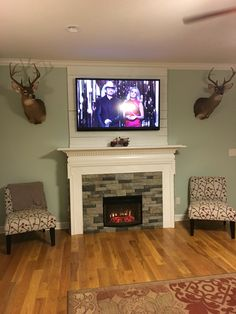 DIY fireplace surround for electric insert. Used old mantle and airstone.