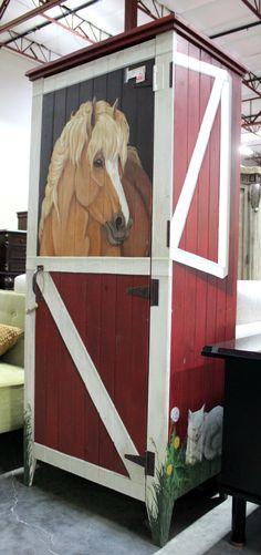 1 door Hand painted 32″W 21 1/2″D 72 1/2″H