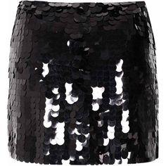 Black Sequin Embellished Skirt ($43) ❤ liked on Polyvore featuring skirts, mini skirts, black, black skirt, party skirts, sequin skirt, short mini skirts and short skirts