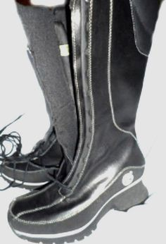 SIZE 6.5M BLACK LEATHER TIMBERLAND NWOB BELOW KNEE BOOTS FRONT TIE WELL PADDED  #Timberland #FashionKneeHigh