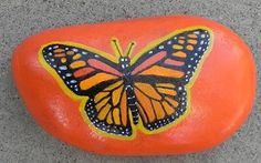 Monarch butterfly hand-painted rock