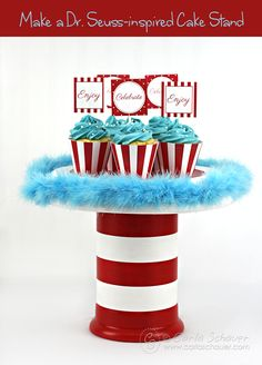 Dr. Seuss-Inspired CakeStand made with terra cotta flower pots.  Tutorial from Carla Schauer Designs.