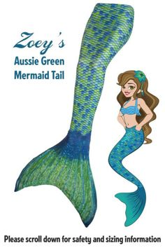 Mermaid-Tail-by-Fin-Fun-Swimmable-Girls-Tail-with-Monofin-Aussie-Green