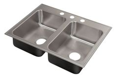 Charmant Just Manufacturing Drop In Double Bowl Sink With Faucet Ledge