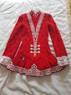 Charming Red Gavin Doherty Irish Dance Dress Solo Costume For Sale