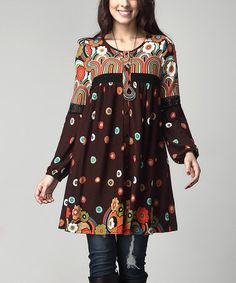 Another great find on #zulily! Brown Floral Button-Front Lace Accent Tunic Dress - Plus #zulilyfinds
