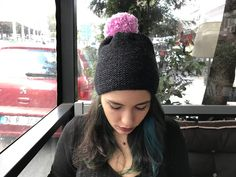 A personal favorite from my Etsy shop https://www.etsy.com/listing/550994962/black-hat-grey-hat-pink-pompom-handmade