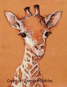 Items similar to Baby giraffe close-up painting: hand signed art print for orange nursery or child's room on Etsy Nursery Prints, Nursery Art, Nursery Decor, Giraffe Crafts, Orange Nursery, Giraffe Pictures, Toned Paper, Striped Background, Giraffe Print