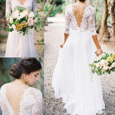 2016 Sexy Illusion Lace Boho Wedding Dresses With Half Sleeves Vestidos Cheap Sweep Train Ivory Chiffon Plus Size Beach Bridal Gowns Wedding Dress Es A Line Wedding Dress Patterns From Flodo, $100.51| Dhgate.Com