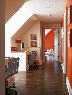 Two desks flanking a window turn an upstairs hallway into a homework station for the kids. #home #decor