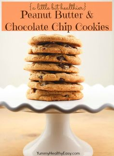 A little bit healthier Peanut Butter & Chocolate Chip Cookies - soft in the middle, crispy on the edges make these peanut butter cookies just right!