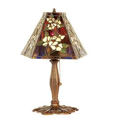 "Meyda 81619 18.5""H Tiffany Style Stained Glass ORIENTAL PEONY Accent Table Lamp #Meyda #StainedGlass"