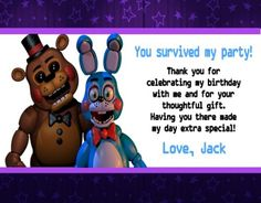 Five Nights at Freddy's Birthday Party Invitations Personalized Doc Mcstuffins Birthday Party, Superhero Birthday Party, 6th Birthday Parties, Chuggington Birthday, Captain America Birthday, Bubble Guppies Birthday, Birthday Thank You Cards, Birthday Party Invitations, Super Party