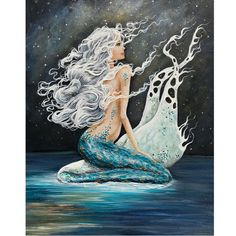 Night mermaid wall art, mermaid under the stars print, beautiful mermaid artwork, Painting by Nancy Quiaoit.