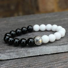 Black Onyx White Alabaster Yin Yang Mala Bracelet by DazzleDream