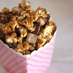 Whatchamacallit Popcorn >> peanut butter, rice krispies, candy bar bits, etc
