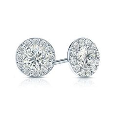 Certified 14k White Gold Halo Round Diamond Stud Earrings 1.50 ct. tw. (G-H, SI2), Women's