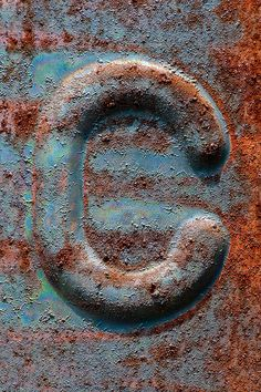 Rust penny copper and oxidized green industrial letter C Rust Never Sleeps, Alphabet Photography, Rust In Peace, Peeling Paint, Rusty Metal, Letter Art, Lettering, Rust Color, Art Plastique