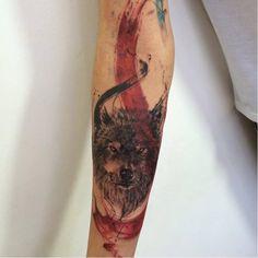 Wolf Tattoo Forearm, Wolf Tattoos, Tattoos Arm And Hand, Watercolor Tattoo, Tatting, Artwork, Tattoo Ideas, Arms, Animals