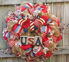 Patriotic Deco Mesh Wreath 4th of July Deco by FestivalofWreaths, $125.00