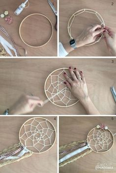 hacer un atrapasueños Aprende a hacer un atrapasueños perfecto para decorar boda o para regalar.Aprende a hacer un atrapasueños perfecto para decorar boda o para regalar. Diy Dream Catcher Tutorial, Dream Catcher Craft, Making Dream Catchers, Lace Dream Catchers, Dream Catcher Mobile, Dream Catcher Boho, Craft Projects, Projects To Try, Diy And Crafts