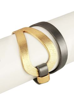 Saachi Looped Metal Genuine Leather Bracelet