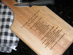 Recipe Cutting Board - Paddle Style - typeset or handwritten- Personlized your way by artZengraving on Etsy