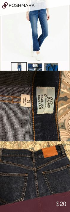 Jeans ONLY WORN ONCE. JCrew Billie Demi Boot Crop jeans size 26. Adorable, but higher waist. I didn't know they were high waisted and It's not for me. Adorable though. Wish they felt better on me. :) J. Crew Pants