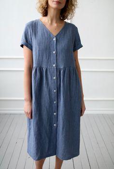 Linen dress with button closure in denim blue color/OFFON Clothing Diy Fashion No Sew, Fashion Sewing, Linen Dresses, Blue Dresses, Full Skirt And Top, Short Sleeve Denim Dress, Sunday Outfits, Summer Tunics, Nursing Dress