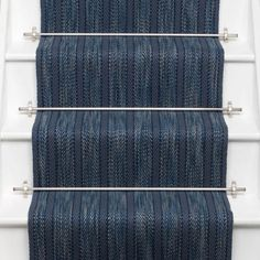 Designers and Makers of unique stripe runners, rugs and fabrics in natural fibres. Simply Luxury for Modern Living Carpet Staircase, Banisters, Railings, Interior Stairs, Hallway Decorating, Carpet Runner, Contemporary Design, Indigo, Rugs