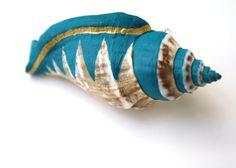 Teal Gold Sea Shell Vase Brooch  Shell Pin Planter by SeashoreLove, $16.00