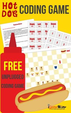 Free unplugged STEM activity for kids, Hot Dog coding game for kids. Help girls and boys learn coding without computer. Science Activities For Kids, Stem Activities, Computer Coding, Computer Programming, Computer Science, Steam Learning, Steam Education, Coding For Kids, Learn To Code