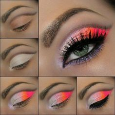 In this tutorial i will show you how to make an awesome neon makeup. Just follow this simple and easy steps: Start by applying the black line such as shown in the first picture. Then apply white shimmery eyeshadow all over your eyelid until the black line. Add the pink neon eyeshadow by the end of your eyelid. Apply the orange eyeshadow on the middle of your lid. Blend the colours well with each other in order to create a smooth look. Add a black eye-liner. Apply your favourite mascara. :*