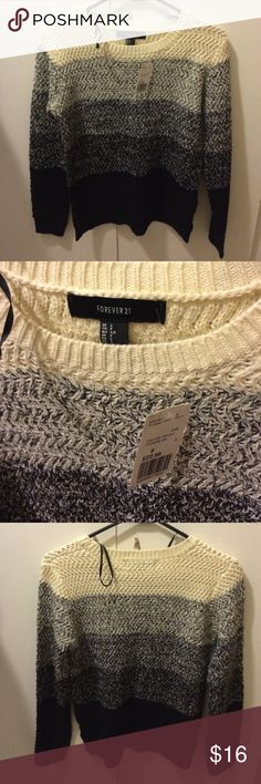 Forever 21 sweater Brand New with tags, size SMALL, forever 21 sweater with different color stripes, cream, marble, grey and black. Forever 21 Sweaters