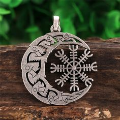Legendary Viking Aegishjalmur Charm Raven Moon Symbol Amulets and Talismans Pendants. the pendent size is The Viking incursions in the Celtic lands began in the century. All of the present six Celtic nations felt the impact of the Viking raids. Moon Symbols, Viking Symbols, Viking Art, Viking Woman, Aztec Symbols, Norse Tattoo, Viking Tattoos, Vikings, Odin Symbol