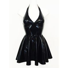 Latex Cherish Dress ($120) ❤ liked on Polyvore featuring dresses, short halter top dresses, circle skirt, halter neckline dress, halter mini dress and plunge halter top