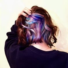 My peekaboo pastel unicorn hair ♡ underlights hair, crazy hair, hair day, underdye Hair Color Streaks, Ombre Hair Color, Cool Hair Color, Hair Highlights, Rainbow Highlights, Peekaboo Hair Colors, Black Highlights, Purple Peekaboo Highlights, Hair Colour