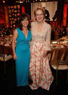 Sally Field and Meryl Streep in Valentino Couture. At AFI tribute to Shirley McClaine